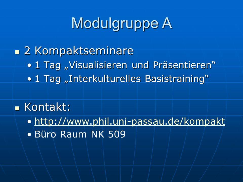 Modulgruppe A 2 Kompaktseminare 2 Kompaktseminare 1 Tag Visualisieren und Präsentieren1 Tag Visualisieren und Präsentieren 1 Tag Interkulturelles Basi