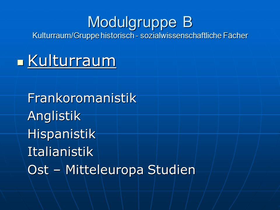 Modulgruppe B Gruppe historisch – sozialwissenschaftliche Fächer Gruppe historisch – sozialwissenschaftliche FächerPolitikwissenschaftGeschichteSoziologieGeographieKunstgeschichte