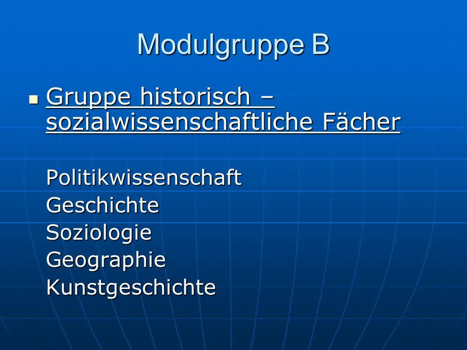 Modulgruppe B Gruppe historisch – sozialwissenschaftliche Fächer Gruppe historisch – sozialwissenschaftliche FächerPolitikwissenschaftGeschichteSoziol