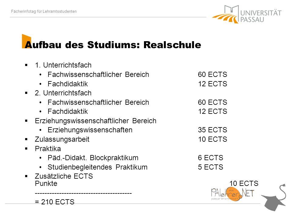 Fächerinfotag für Lehramtsstudenten Aufbau des Studiums: Realschule 1.