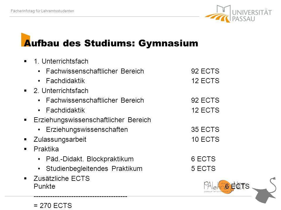 Fächerinfotag für Lehramtsstudenten Aufbau des Studiums: Gymnasium 1.