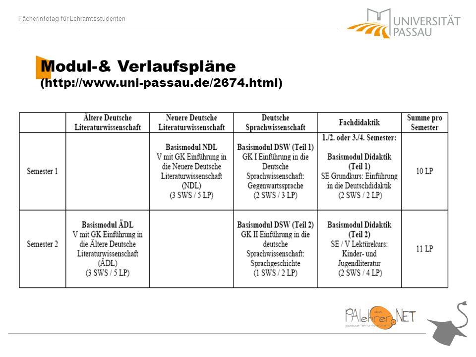Fächerinfotag für Lehramtsstudenten Modul-& Verlaufspläne (http://www.uni-passau.de/2674.html)