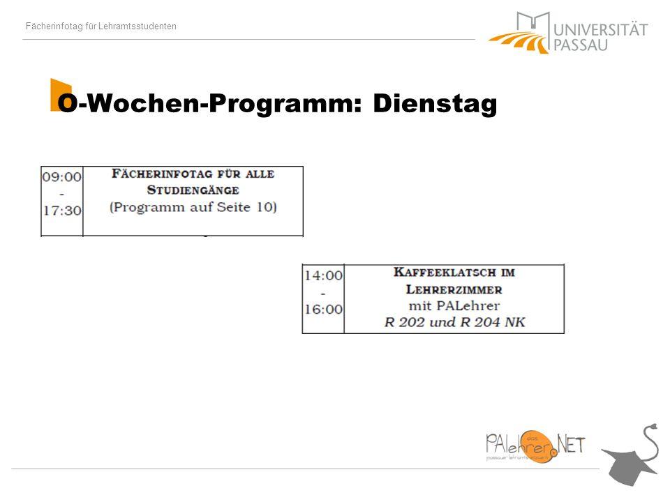 Fächerinfotag für Lehramtsstudenten Der Stundenplan Für GS, HS und GYM: GK I Schulpädagogik (Prof.