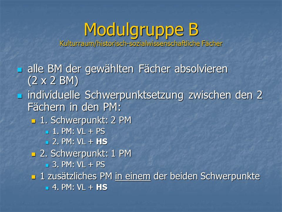alle BM der gewählten Fächer absolvieren (2 x 2 BM) alle BM der gewählten Fächer absolvieren (2 x 2 BM) individuelle Schwerpunktsetzung zwischen den 2 Fächern in den PM: individuelle Schwerpunktsetzung zwischen den 2 Fächern in den PM: 1.