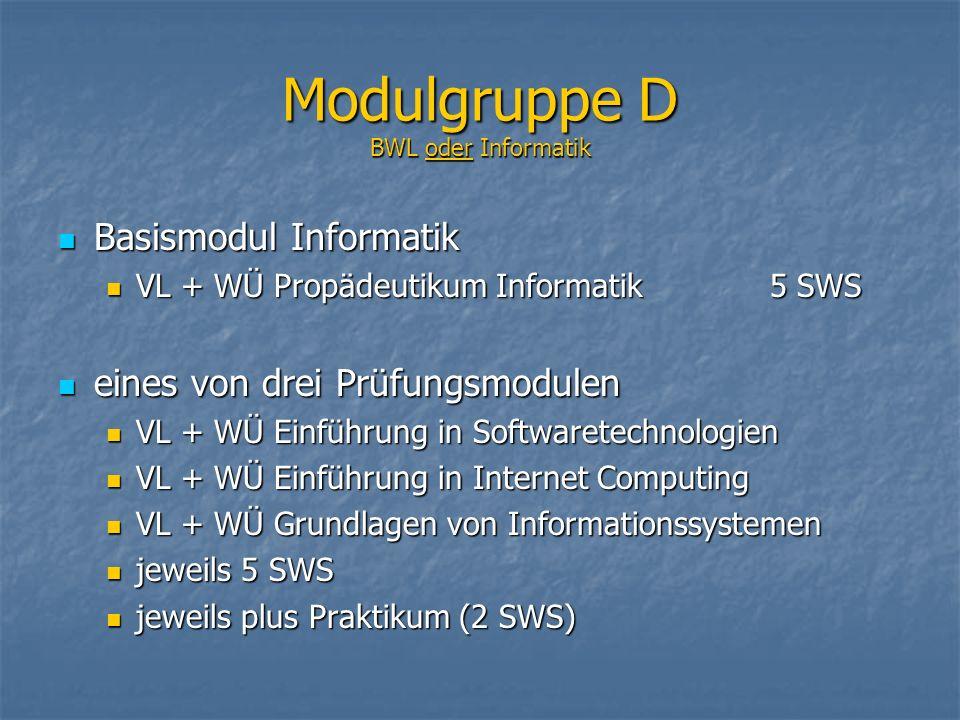 Basismodul Informatik Basismodul Informatik VL + WÜ Propädeutikum Informatik 5 SWS VL + WÜ Propädeutikum Informatik 5 SWS eines von drei Prüfungsmodul