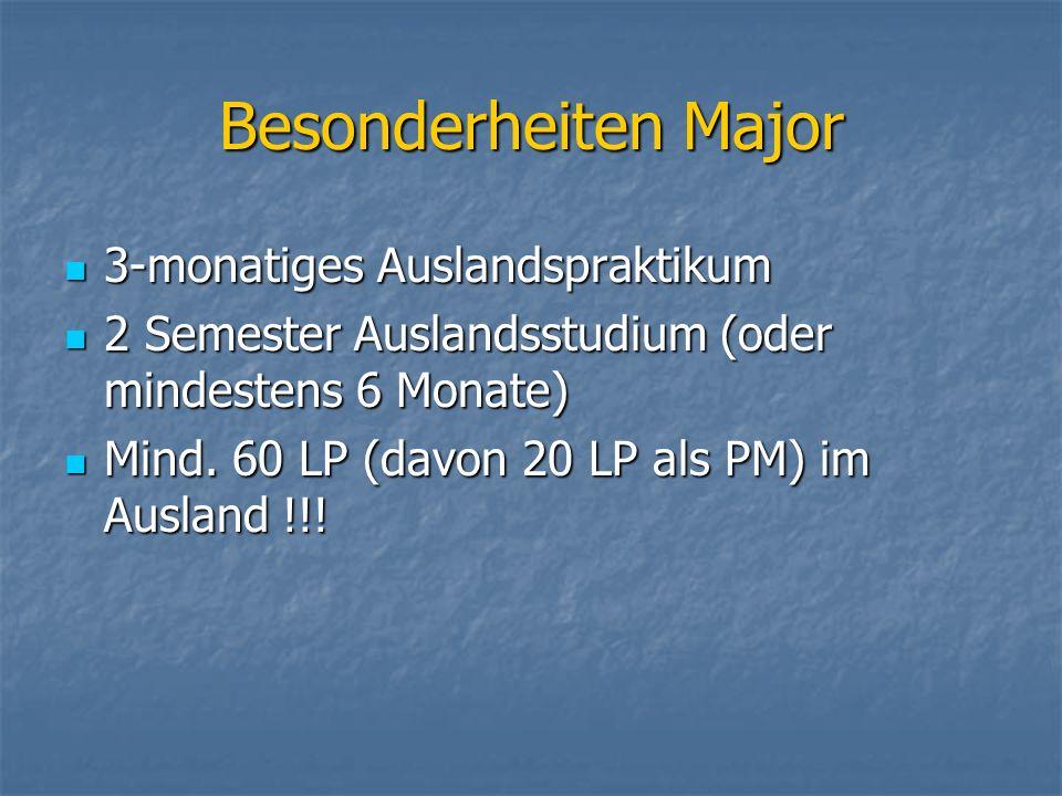 Besonderheiten Major 3-monatiges Auslandspraktikum 3-monatiges Auslandspraktikum 2 Semester Auslandsstudium (oder mindestens 6 Monate) 2 Semester Auslandsstudium (oder mindestens 6 Monate) Mind.