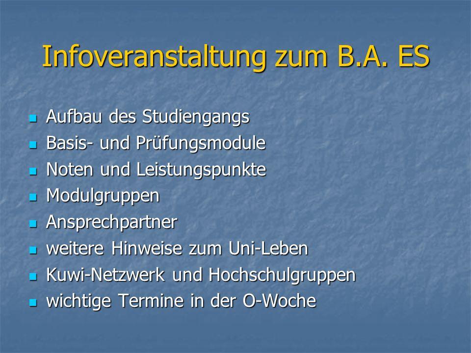 Infoveranstaltung zum B.A. ES Aufbau des Studiengangs Aufbau des Studiengangs Basis- und Prüfungsmodule Basis- und Prüfungsmodule Noten und Leistungsp