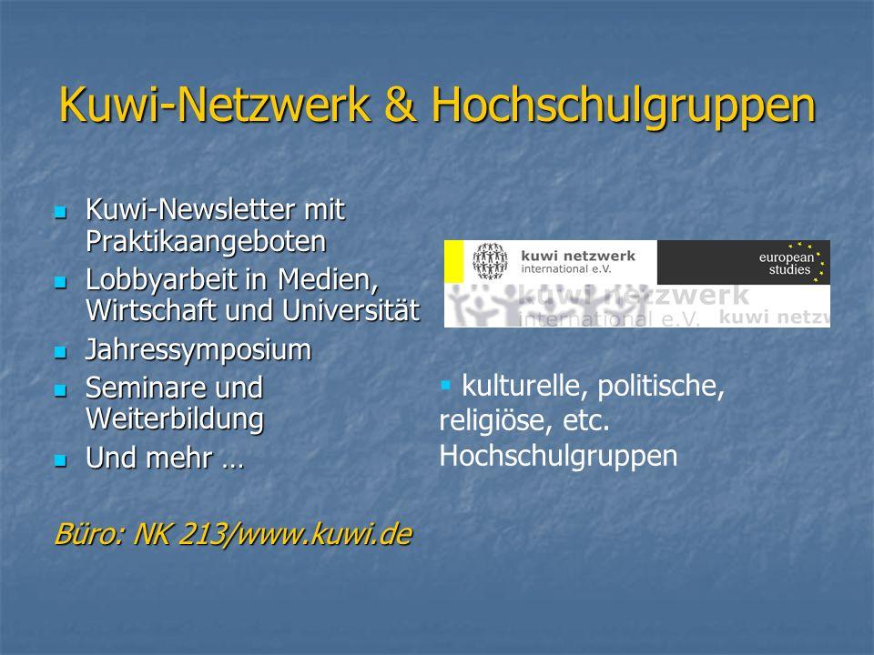 Kuwi-Netzwerk & Hochschulgruppen Kuwi-Newsletter mit Praktikaangeboten Kuwi-Newsletter mit Praktikaangeboten Lobbyarbeit in Medien, Wirtschaft und Uni