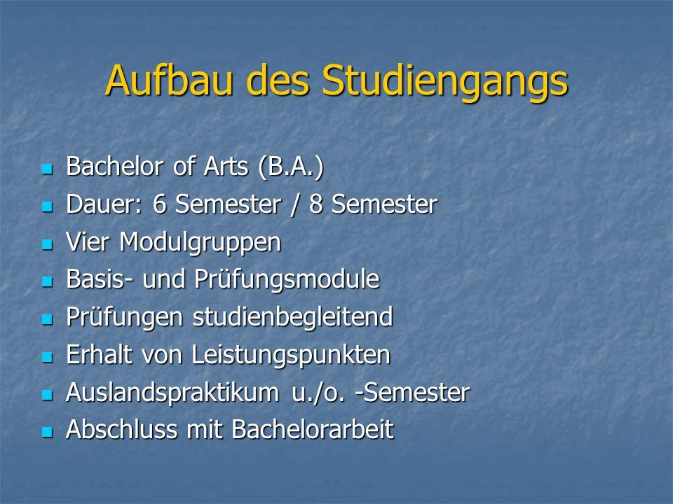 Aufbau des Studiengangs Bachelor of Arts (B.A.) Bachelor of Arts (B.A.) Dauer: 6 Semester / 8 Semester Dauer: 6 Semester / 8 Semester Vier Modulgruppe