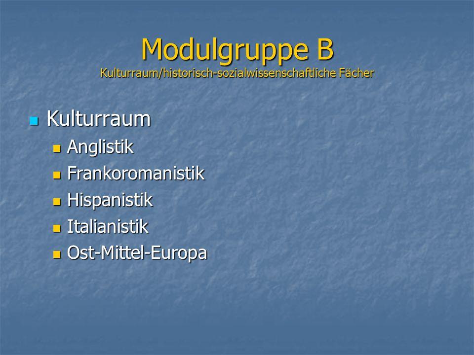 Modulgruppe B Kulturraum/historisch-sozialwissenschaftliche Fächer Kulturraum Kulturraum Anglistik Anglistik Frankoromanistik Frankoromanistik Hispani