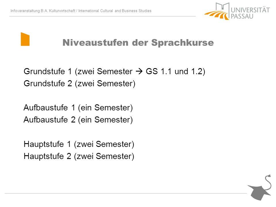 Infoveranstaltung B.A. Kulturwirtschaft / International Cultural and Business Studies Niveaustufen der Sprachkurse Grundstufe 1 (zwei Semester GS 1.1