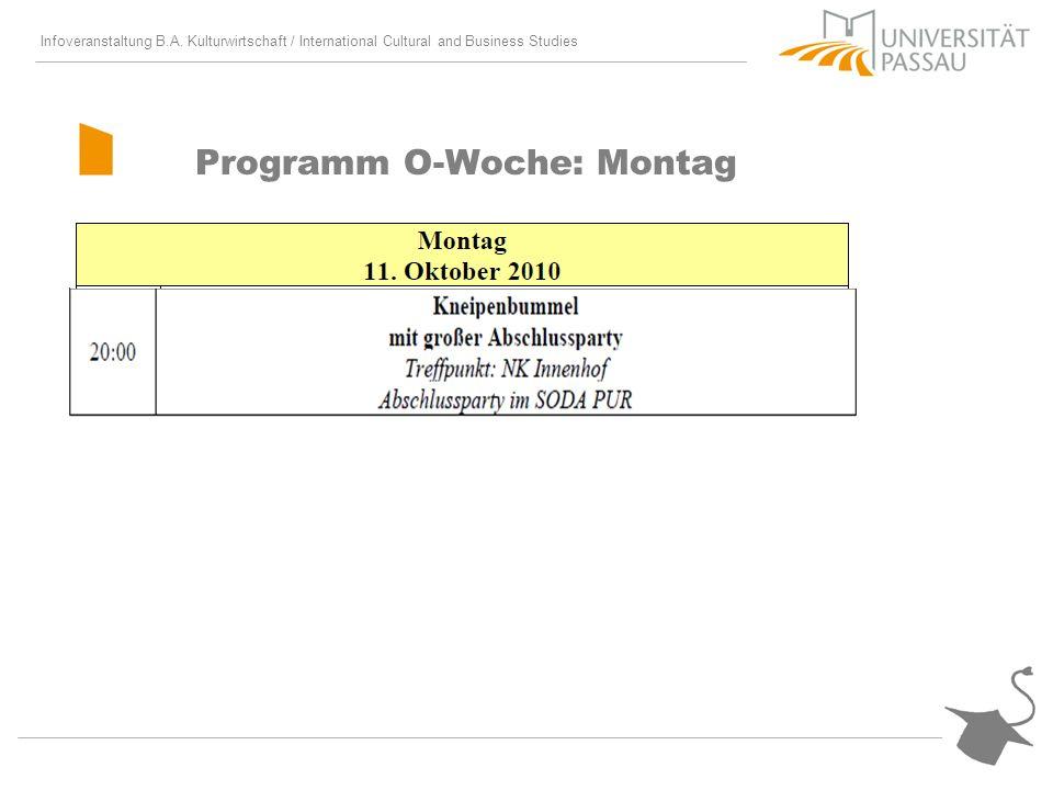 Infoveranstaltung B.A. Kulturwirtschaft / International Cultural and Business Studies Programm O-Woche: Montag