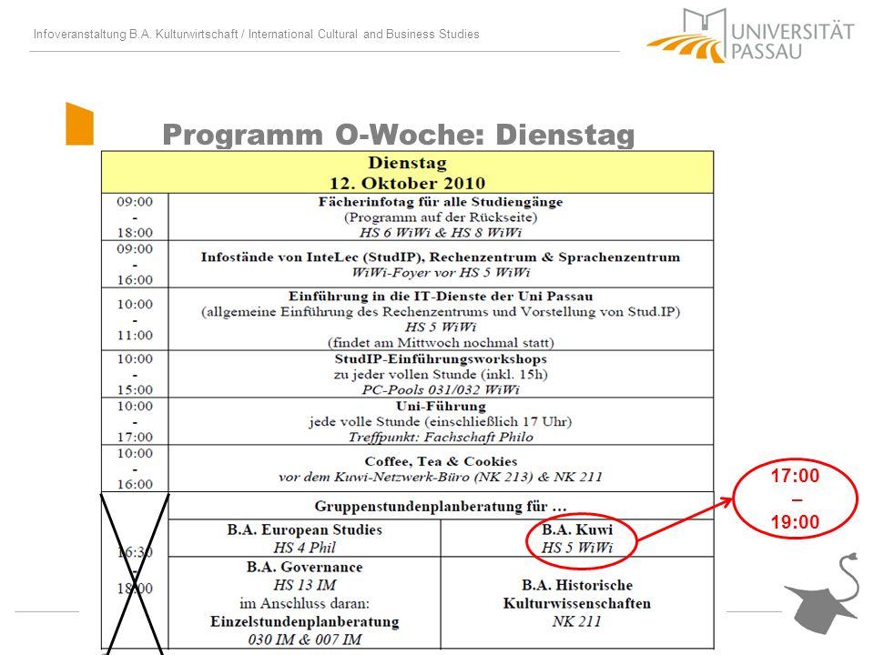 Infoveranstaltung B.A. Kulturwirtschaft / International Cultural and Business Studies Programm O-Woche: Dienstag 17:00 – 19:00