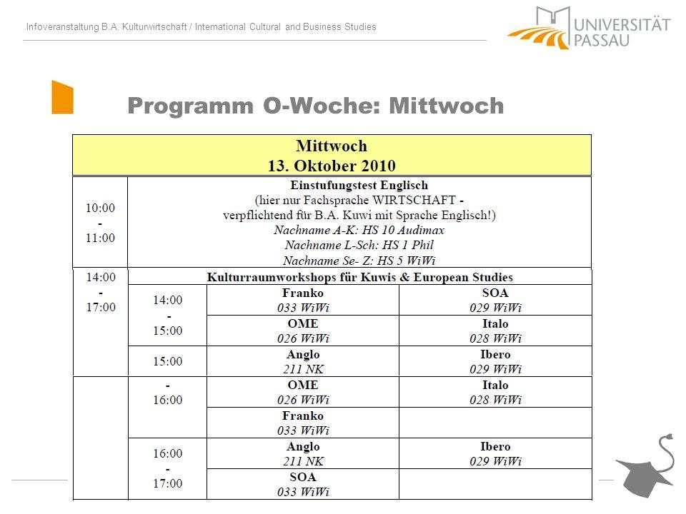 Infoveranstaltung B.A. Kulturwirtschaft / International Cultural and Business Studies Programm O-Woche: Mittwoch