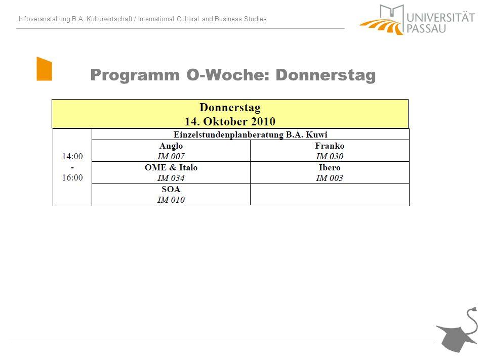Infoveranstaltung B.A. Kulturwirtschaft / International Cultural and Business Studies Programm O-Woche: Donnerstag
