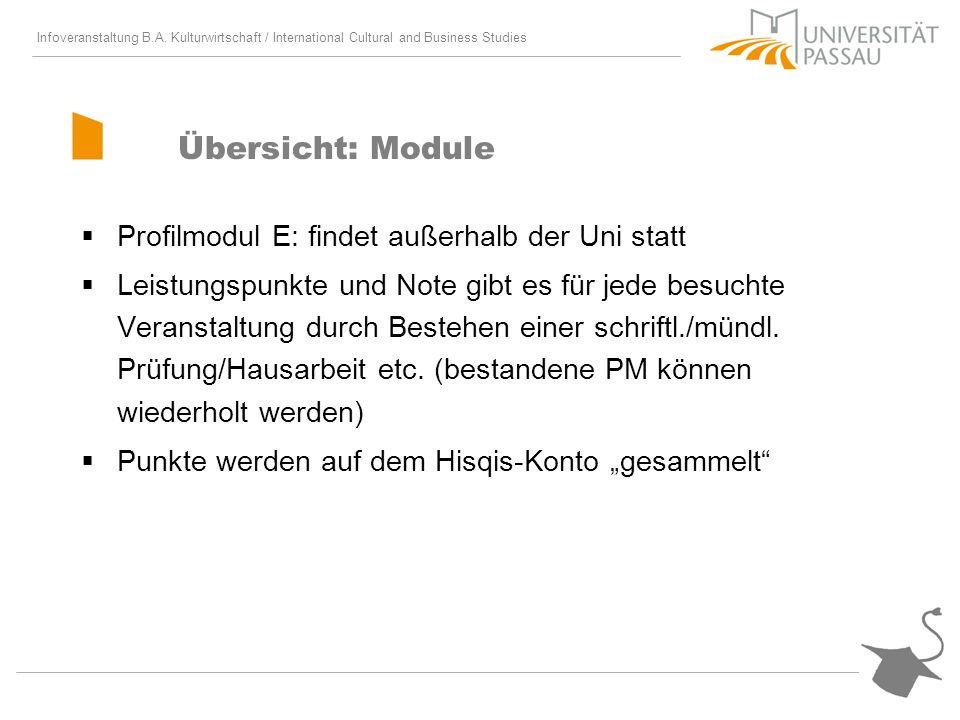 Infoveranstaltung B.A. Kulturwirtschaft / International Cultural and Business Studies Übersicht: Module Profilmodul E: findet außerhalb der Uni statt