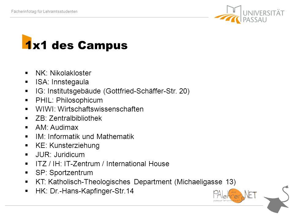 Fächerinfotag für Lehramtsstudenten 1x1 des Campus NK: Nikolakloster ISA: Innstegaula IG: Institutsgebäude (Gottfried-Schäffer-Str.