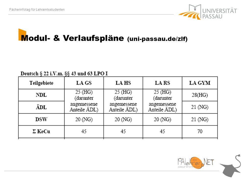 Fächerinfotag für Lehramtsstudenten Modul- & Verlaufspläne (uni-passau.de/zlf)
