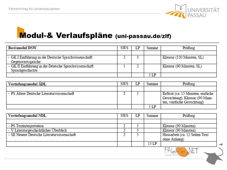 Fächerinfotag für Lehramtsstudenten Modul-& Verlaufspläne (uni-passau.de/zlf)
