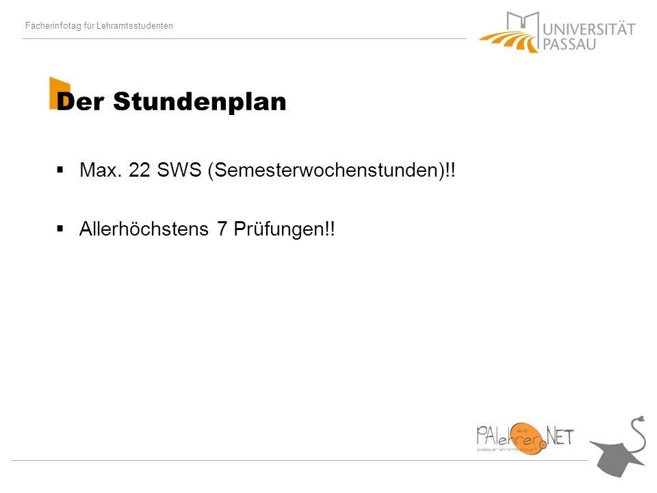 Fächerinfotag für Lehramtsstudenten Der Stundenplan Max.