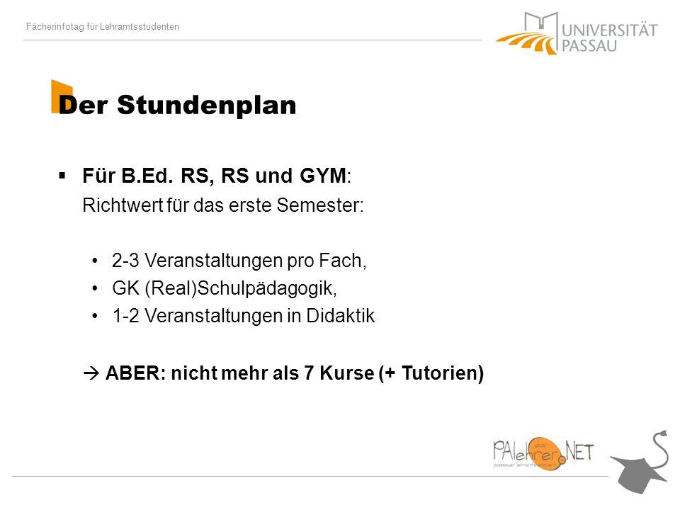 Fächerinfotag für Lehramtsstudenten Der Stundenplan Für B.Ed.