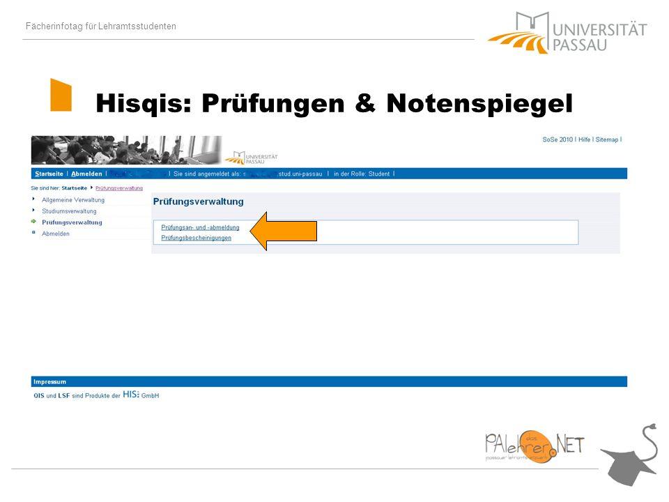 Fächerinfotag für Lehramtsstudenten Hisqis: Prüfungen & Notenspiegel