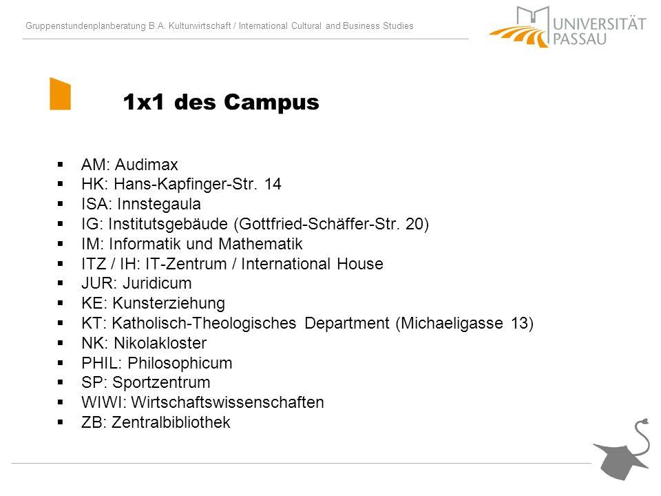 Gruppenstundenplanberatung B.A. Kulturwirtschaft / International Cultural and Business Studies 1x1 des Campus AM: Audimax HK: Hans-Kapfinger-Str. 14 I