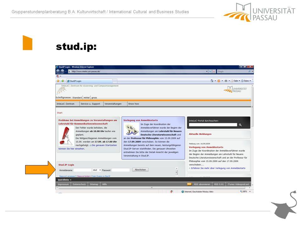 Gruppenstundenplanberatung B.A. Kulturwirtschaft / International Cultural and Business Studies stud.ip: