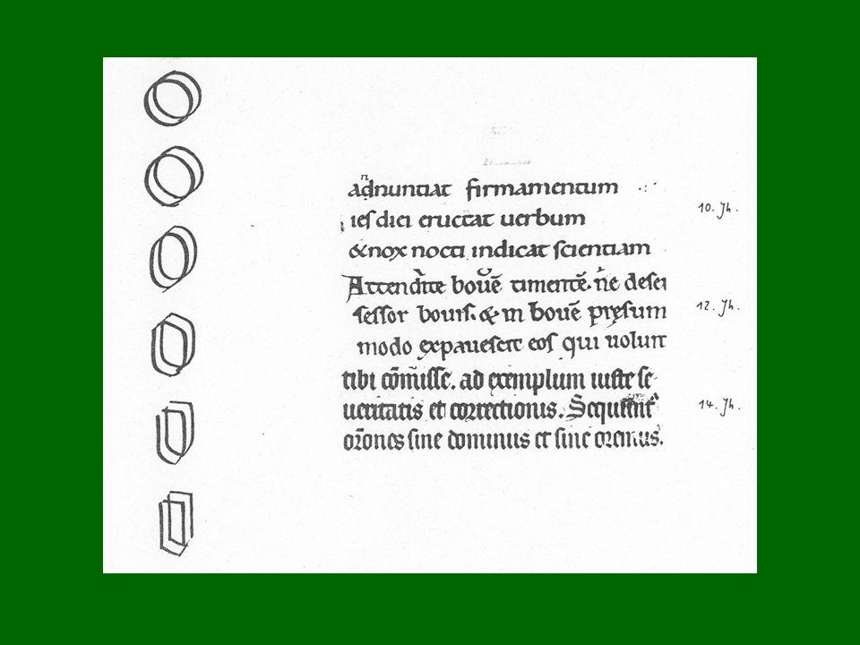 Die BRECHUNG erklärt sich am besten als Folge einer seitlichen Pressung der Schrift: Deshalb können die Bögen der runden Buchstaben wie o bzw. m, n us