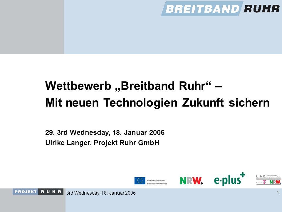3rd Wednesday, 18. Januar 20061 Wettbewerb Breitband Ruhr – Mit neuen Technologien Zukunft sichern 29. 3rd Wednesday, 18. Januar 2006 Ulrike Langer, P