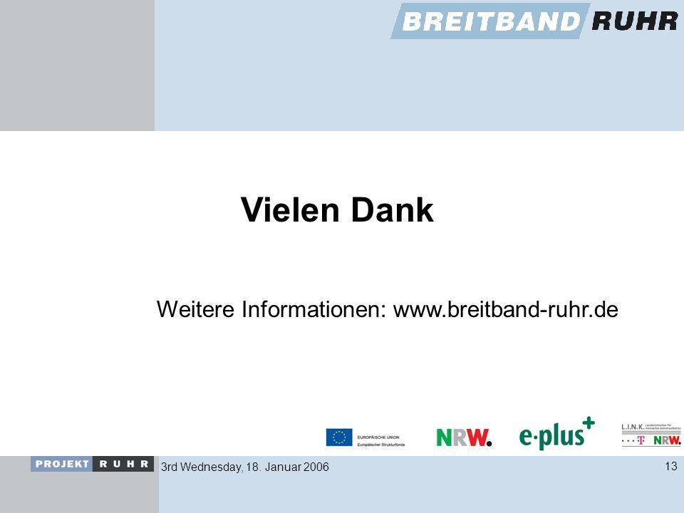 3rd Wednesday, 18. Januar 200613 Vielen Dank Weitere Informationen: www.breitband-ruhr.de