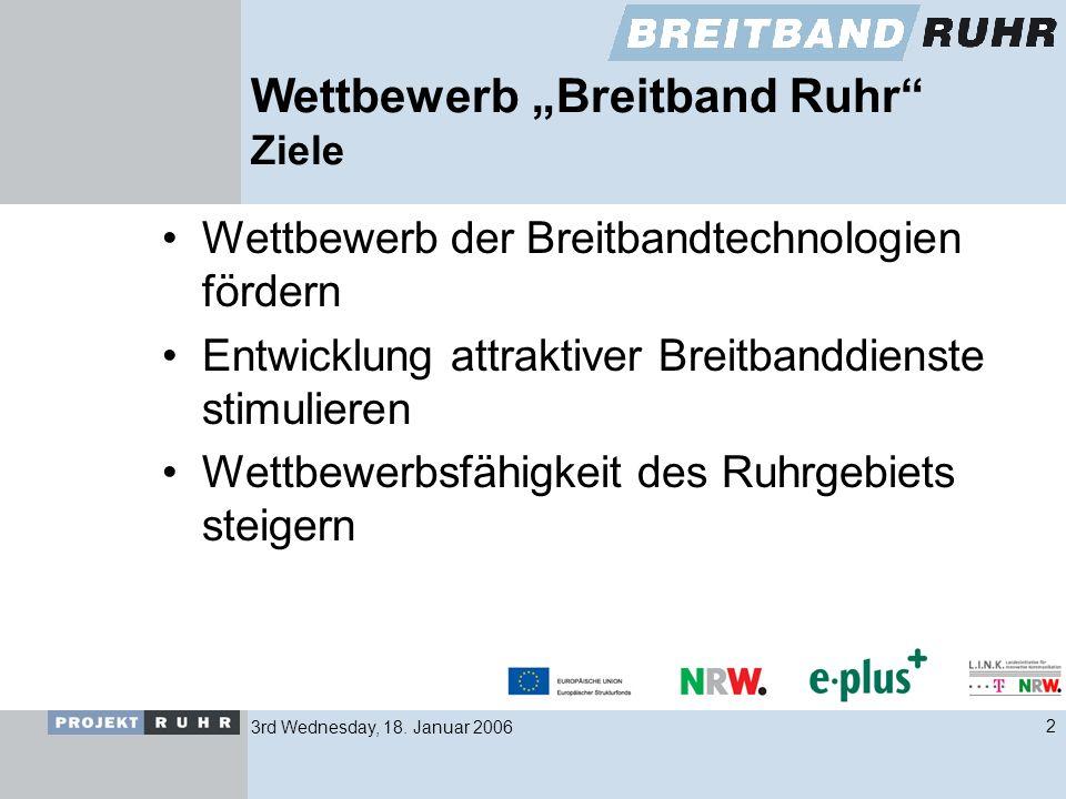 3rd Wednesday, 18. Januar 20062 Wettbewerb Breitband Ruhr Ziele Wettbewerb der Breitbandtechnologien fördern Entwicklung attraktiver Breitbanddienste