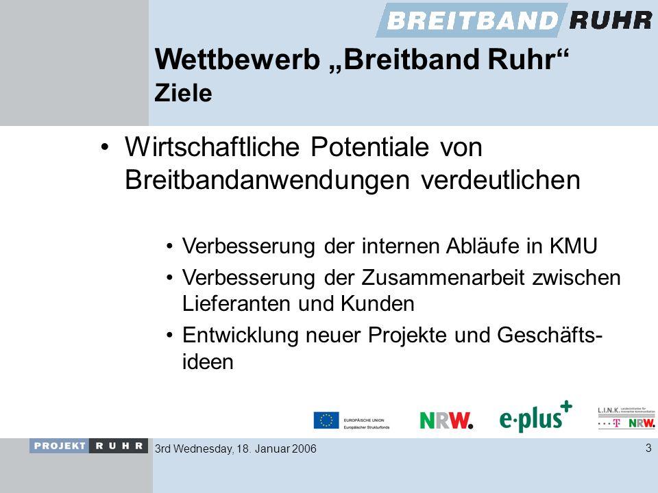 3rd Wednesday, 18. Januar 20063 Wettbewerb Breitband Ruhr Ziele Wirtschaftliche Potentiale von Breitbandanwendungen verdeutlichen Verbesserung der int