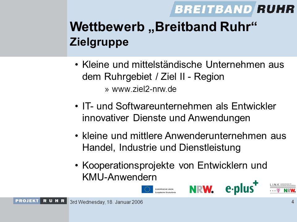 3rd Wednesday, 18. Januar 20064 Wettbewerb Breitband Ruhr Zielgruppe Kleine und mittelständische Unternehmen aus dem Ruhrgebiet / Ziel II - Region »ww