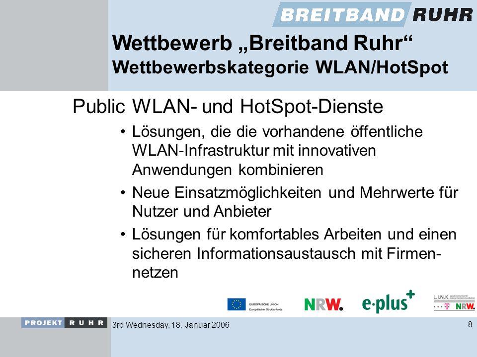 3rd Wednesday, 18. Januar 20068 Wettbewerb Breitband Ruhr Wettbewerbskategorie WLAN/HotSpot Public WLAN- und HotSpot-Dienste Lösungen, die die vorhand