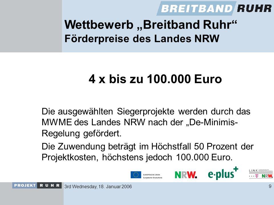 3rd Wednesday, 18. Januar 20069 Wettbewerb Breitband Ruhr Förderpreise des Landes NRW 4 x bis zu 100.000 Euro Die ausgewählten Siegerprojekte werden d