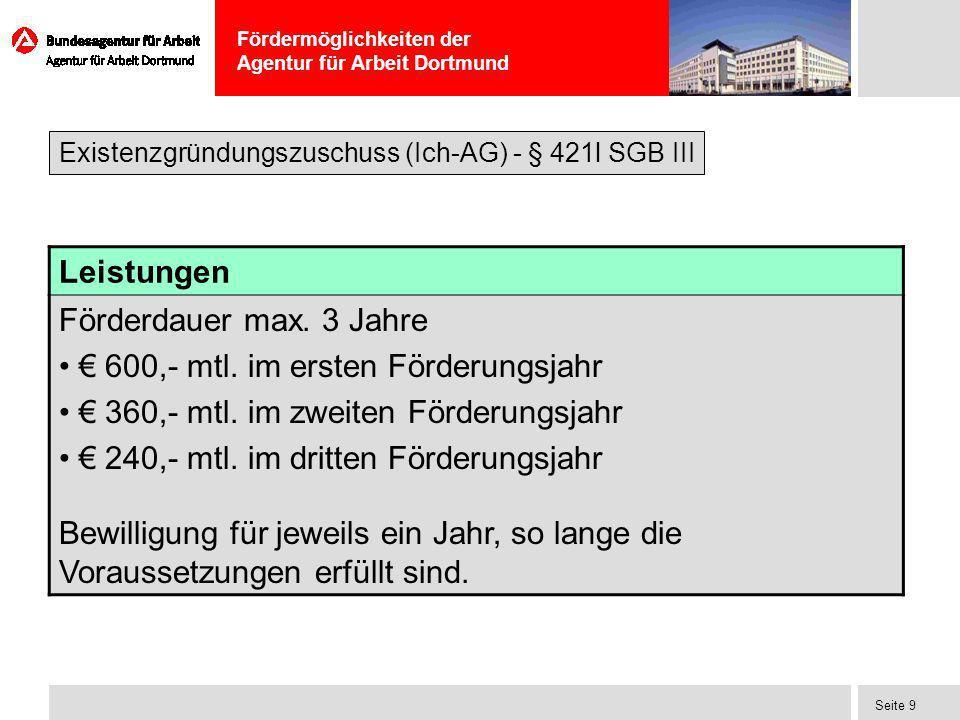 Fördermöglichkeiten der Agentur für Arbeit Dortmund Seite 9 Leistungen Förderdauer max. 3 Jahre 600,- mtl. im ersten Förderungsjahr 360,- mtl. im zwei