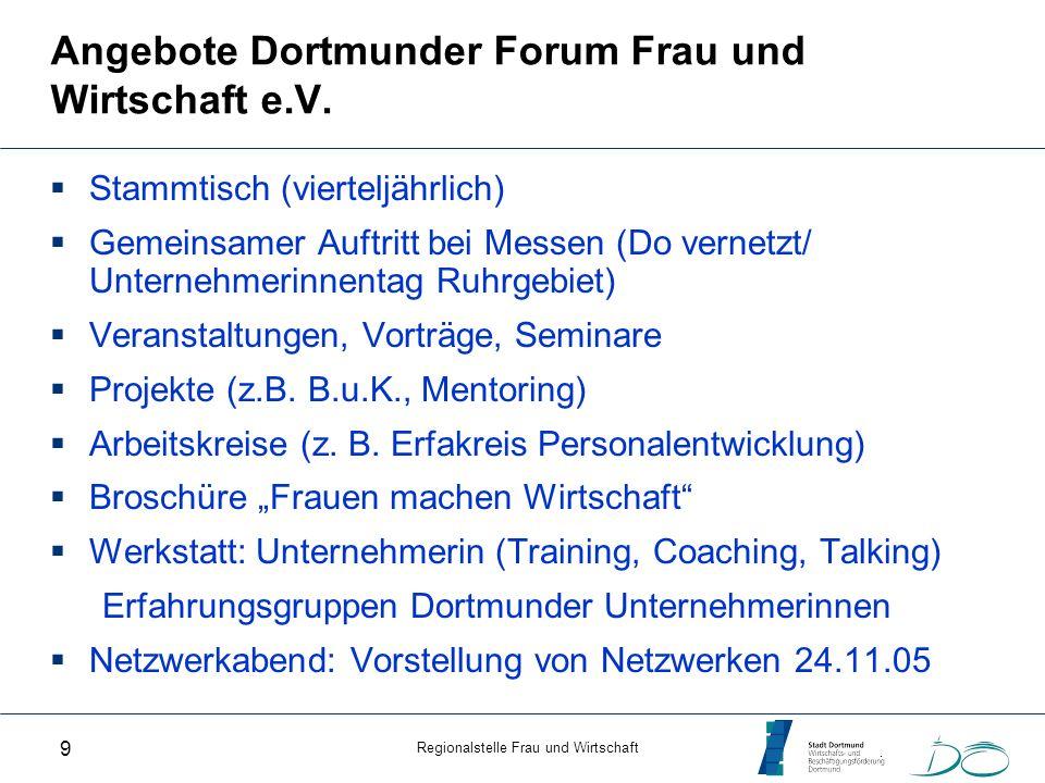Regionalstelle Frau und Wirtschaft 9 Angebote Dortmunder Forum Frau und Wirtschaft e.V. Stammtisch (vierteljährlich) Gemeinsamer Auftritt bei Messen (