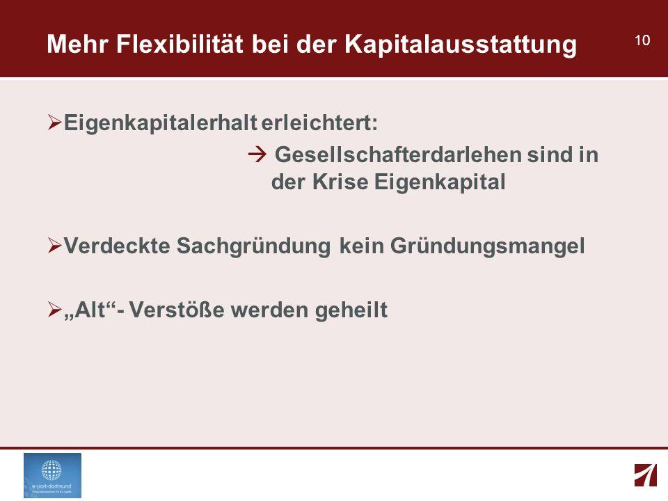 10 Mehr Flexibilität bei der Kapitalausstattung Eigenkapitalerhalt erleichtert: Gesellschafterdarlehen sind in der Krise Eigenkapital Verdeckte Sachgr