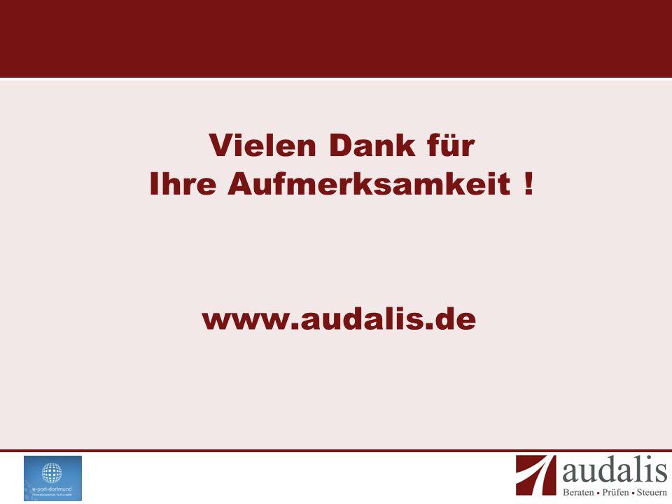 Vielen Dank für Ihre Aufmerksamkeit ! www.audalis.de