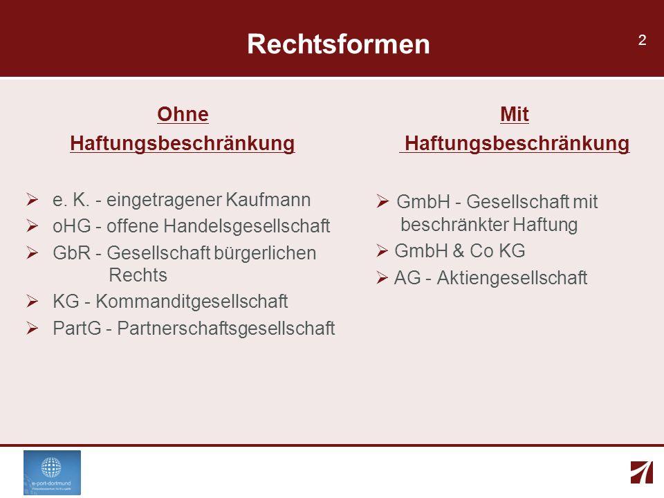 2 Rechtsformen Ohne Haftungsbeschränkung e. K. - eingetragener Kaufmann oHG - offene Handelsgesellschaft GbR - Gesellschaft bürgerlichen Rechts KG - K