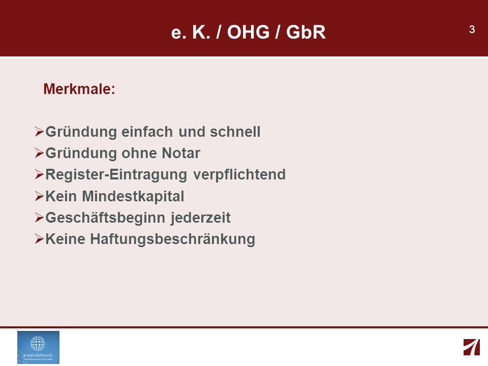 3 e. K. / OHG / GbR Merkmale: Gründung einfach und schnell Gründung ohne Notar Register-Eintragung verpflichtend Kein Mindestkapital Geschäftsbeginn j
