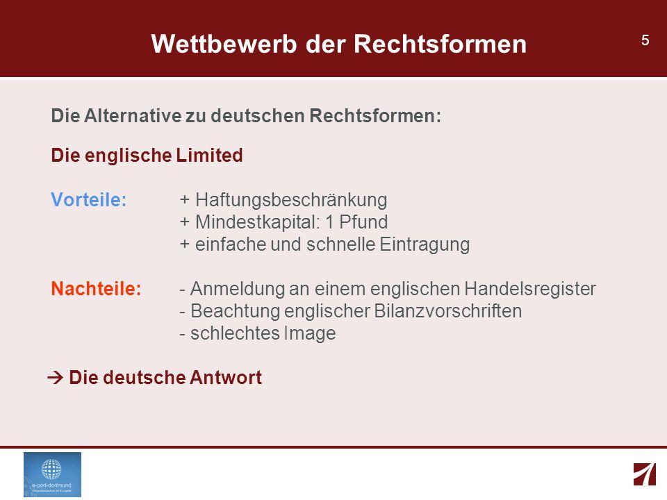 5 Wettbewerb der Rechtsformen Die Alternative zu deutschen Rechtsformen: Die englische Limited Vorteile: + Haftungsbeschränkung + Mindestkapital: 1 Pf
