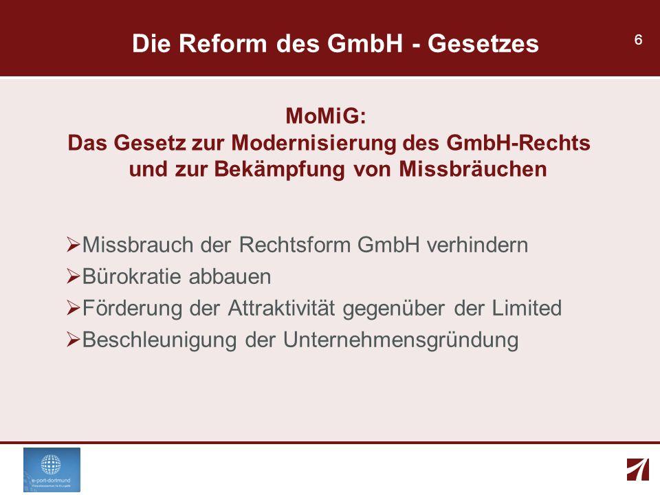 6 Die Reform des GmbH - Gesetzes MoMiG: Das Gesetz zur Modernisierung des GmbH-Rechts und zur Bekämpfung von Missbräuchen Missbrauch der Rechtsform Gm