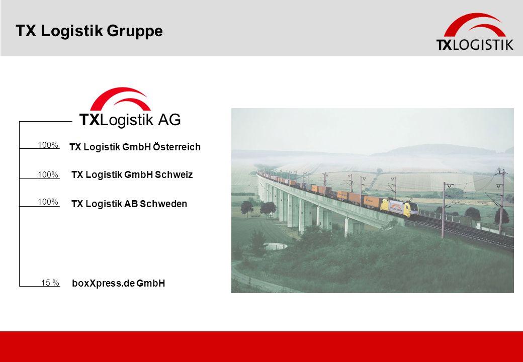 TX Logistik Gruppe TXLogistik AG 100% TX Logistik GmbH Schweiz 100% TX Logistik GmbH Österreich boxXpress.de GmbH 15 % TX Logistik AB Schweden