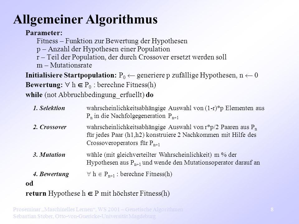 Proseminar Maschinelles Lernen, WS 2001 – Genetische Algorithmen Sebastian Stober, Otto-von-Guericke-Universität Magdeburg 8 Parameter: Fitness – Funktion zur Bewertung der Hypothesen p – Anzahl der Hypothesen einer Population r – Teil der Population, der durch Crossover ersetzt werden soll m – Mutationsrate Initialisiere Startpopulation: P 0 generiere p zufällige Hypothesen, n 0 Bewertung: h P 0 : berechne Fitness(h) while (not Abbruchbedingung_erfuellt) do od return Hypothese h P mit höchster Fitness(h) Allgemeiner Algorithmus 1.