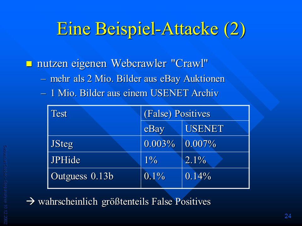 Sebastian Stober - Steganalyse 10.12.2002 24 Eine Beispiel-Attacke (2) nutzen eigenen Webcrawler Crawl nutzen eigenen Webcrawler Crawl –mehr als 2 Mio.