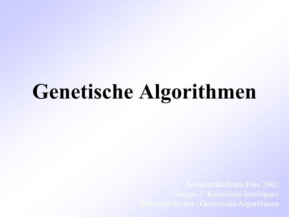 Genetische Algorithmen Sommerakademie Ftan 2002 Gruppe 3: Künstliche Intelligenz Sebastian Stober - Genetische Algorithmen
