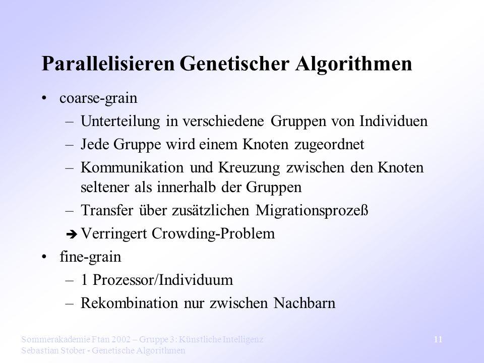 Sommerakademie Ftan 2002 – Gruppe 3: Künstliche Intelligenz Sebastian Stober - Genetische Algorithmen 11 Parallelisieren Genetischer Algorithmen coars
