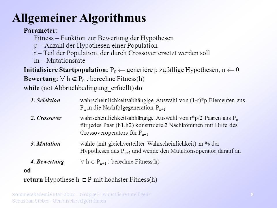 Sommerakademie Ftan 2002 – Gruppe 3: Künstliche Intelligenz Sebastian Stober - Genetische Algorithmen 8 Parameter: Fitness – Funktion zur Bewertung de